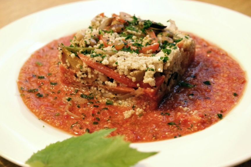 Mediterranean cous-cous over a bed of gazpacho